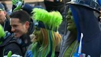 Super Bowl fans descend on Times Square