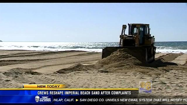 Crews reshape Imperial Beach sand after complaints