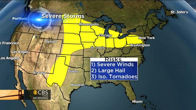 Severe weather threat: Storms in Midwest, hot and humid in Northeast