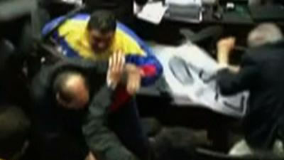 Raw: Venezuela Lawmakers Brawl