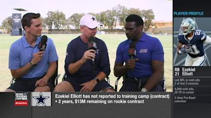 f6844db6 Dallas Cowboys head coach Jason Garrett reacts to NFL Network's Michael  Irvin's question about impact of running back Ezekiel Elliott's holdout