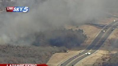 Large Grass Fire Sparks Near Turner Turnpike