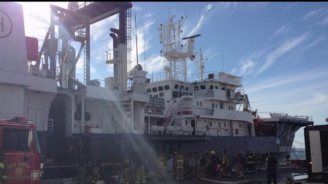 Research Ship Catches Fire