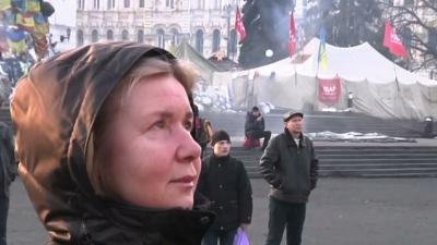 Protesters Cautious About Ukraine's Future