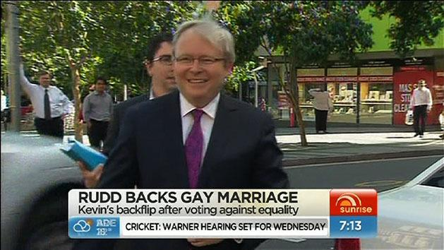 Rudd declares support for gay marriage