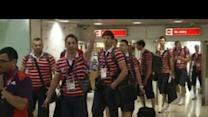 Olympic athletes land at Heathrow Airport