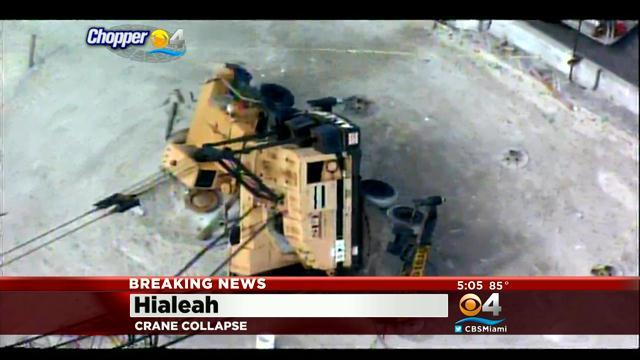 Crane Collapse Brings Wires Down In Hialeah