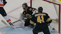 Rask bails out Krug with a right pad save