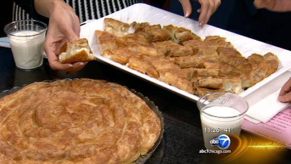 Balkan street food burek made by hand at City Fresh Market in West Rogers Park Chicago