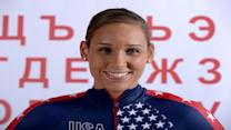 Lolo Jones practiced figure skating moves in her living room