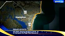 Nor'easter causing waves to crash ashore in Hampton