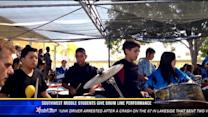 Southwest Middle School students give drum line performance