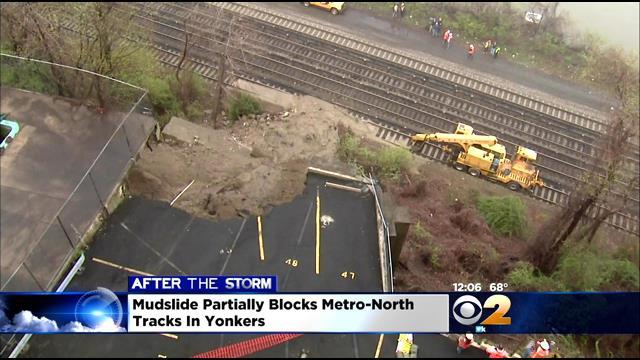 Metro-North Cleaning Up After Mudslide In Yonkers