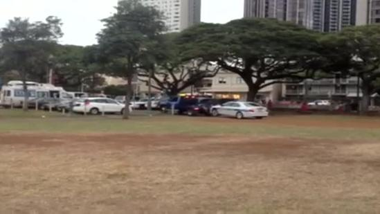HPD vehicle towed at Aala Park