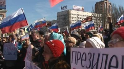 Raw: Thousands Attend Pro-Russia Demo in Ukraine