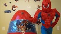 Spiderman Surprises Boy and Joins in the Fun