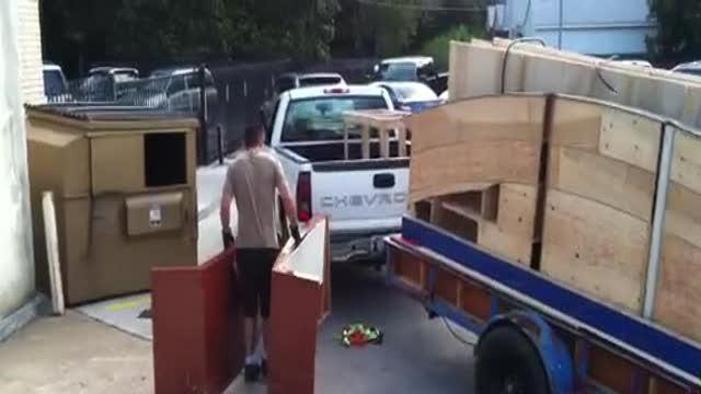 Parts of set being moved