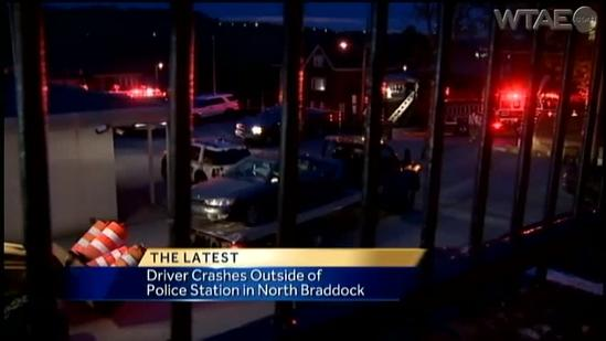 Driver jumps from car as it crashes outside North Braddock police station