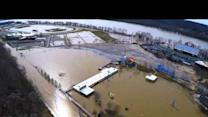 Aerial Footage Shows Flooded Ohio Amusement Park