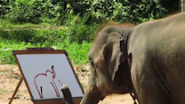 Suda the Elephant Paints a Self-Portrait