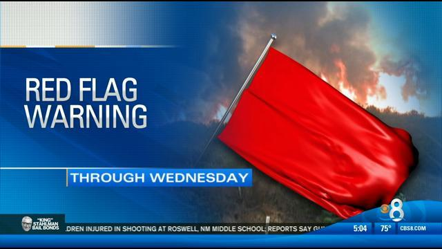 San Diego under a Red Flag Warning
