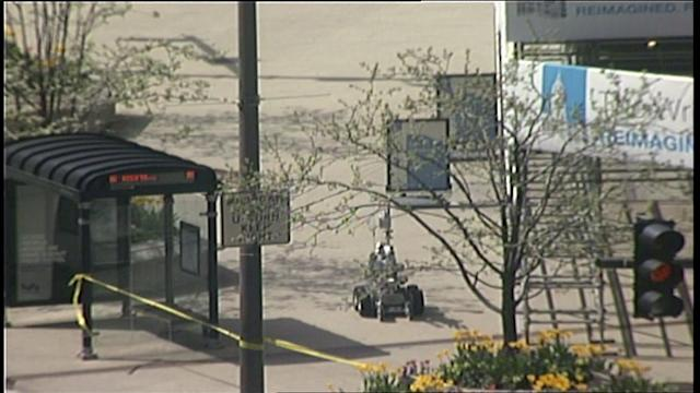 RAW: Bomb defusing robot deployed on Michigan Ave.