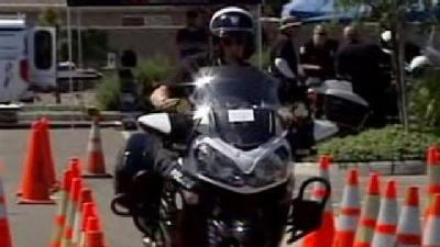Motorcycle Police Test Their Riding Skills In Manteca