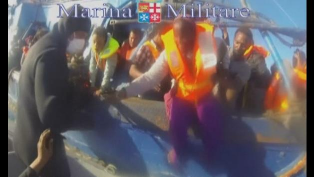 Footage shows rescue of 620 migrants from a small boat