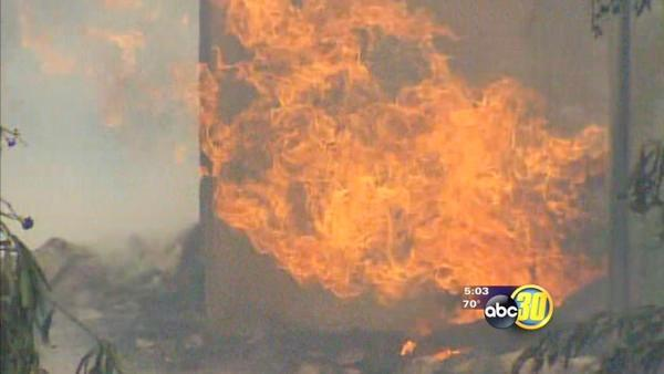 Fire fed by windy conditions near Woodlake