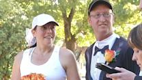 Avid runners tie the knot in marathon marriage ceremony