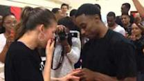 Basketball Pro Proposes on Court