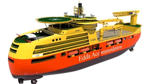 Self-stabilising ship to keep oil rig workers on even keel
