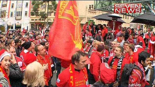 Crowds gather for Liverpool