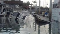 Yacht Capsizes While Tiied To Dock