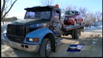 RAW: Car struck by tire in Racine County