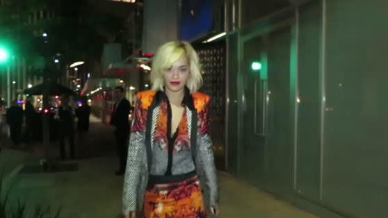 Rita Ora Powers Up in a Vibrant Two-Piece Suit