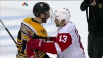 Red Wings and Bruins handshake