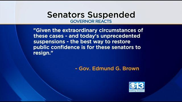 Gov. Jerry Brown Calls On Suspended Senators To Step Down