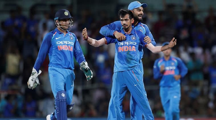 Chahal celebrates after dismissing Maxwell in the first ODI