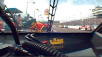 Clint Bowyer hits pit crew member
