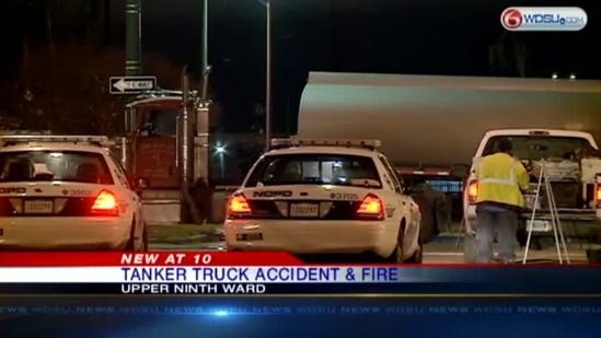Tanker trucks crashes and catches fire
