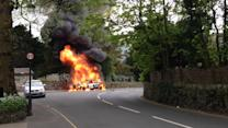 Dramatic footage of car fire in Grasmere