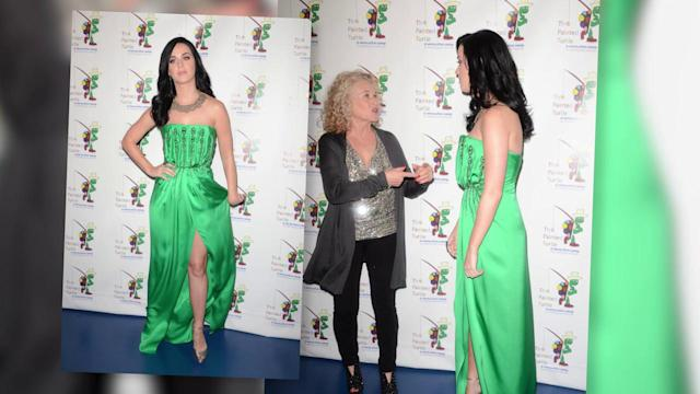 Katy Perry Wows in Green Gown Split to the Thigh