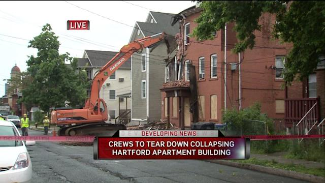 Crews Tear Down Collapsing Building In Hartford