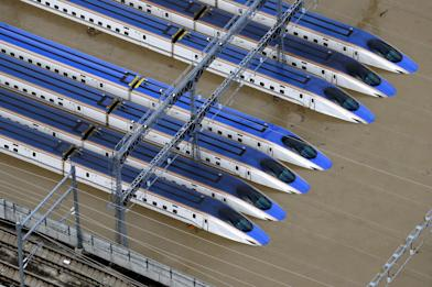 空拍直擊!水淹關東 新幹線全泡湯