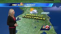 Warm up continues on Tuesday