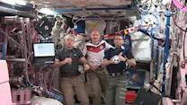 Astronauts play soccer aboard the International Space Station