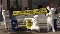 Greenpeace 'polar bears' protest Arctic oil