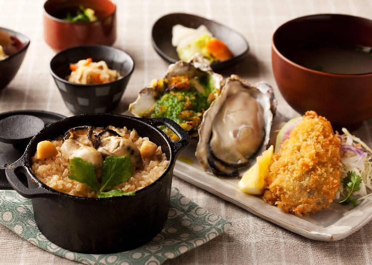午餐時段給你更多的牡蠣!牡蠣鐵鍋飯套餐 1620日圓(假日另加價216日圓)