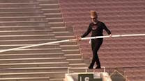 Daredevil walks across Rose Bowl stadium, take selfies